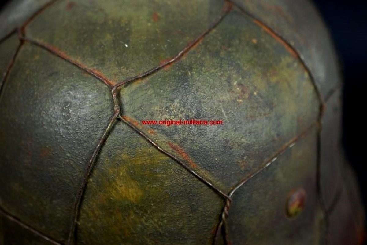 WH/HEER, Casco M35 Camuflado en Tres colores con Malla Metálica, Tamaño 66